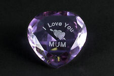 I LOVE YOU MUM crystal heart PURPLE, Stocking filler, Birthday, Thank you gift