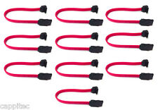 PACK OF 10 HTPC MINI ITX 20CM RED SATA2 3GBs CABLES RIGHT ANGLE TO STRAIGHT PLUG