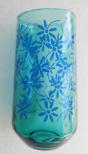 Blue glass vase Daisy flower pattern 7 inches tall