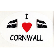 Cornish St Piran's Flags bumper sticker car decal  I  (heart)  Cornwall Flag