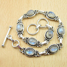 Blue Fired RAINBOW MOONSTONE 8 Gems Bracelet 8.5 Inches ! Silver Plated Jewelry