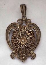 antique Victorian  SILVER gilt filigree  Mourning locket pendant