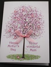 LARGE A5 Handmade Personalised SPRING TREE -MOTHER'S DAY Card/mum grandma nan