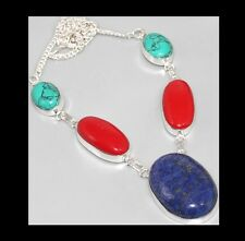 NEW - BLUE LAPIS LAZULI, RED CORAL & TURQUOISE SILVER PLATED NECKLACE