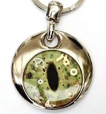 Frog Eye steampunk personalised hand painted/made resin real cogs keyring gift