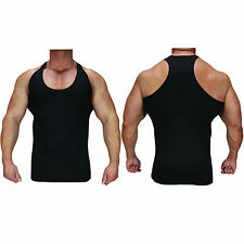 Mens Gym Vest Racerback Bodybuilding Muscle Stringer Plain Tank Top Fitness Lot