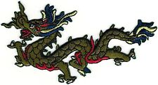 """2 1/4"""" x 4 1/2"""" Green Chinese Dragon Facing Left Embroidery Patch"""