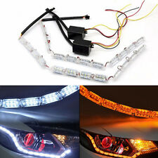 2x Switchback 12 LED Strip Lights with  Signal For Headlight Retrofit NEW
