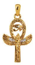 Egyptian Goddess Isis Ancient Mother Ankh Eye Rhinestone Pendant Necklace #2910