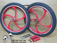 "20"" RED Alloy BMX Bike Mag Wheel Set 5x Twin Spokes 10mm Axle 20 Inch Black Tyre"