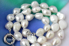 "New huge Baroque 9x12mm WHITE FRESHWATER CULTURED PEARL NECKLACE 18"" AAA001"