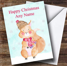 Watercolour Snowy Squirrel Personalised Christmas Card