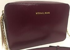 NEW Michael Kors Jet Set Travel Plum Patent Saffiano Leather Crossbody Handbag