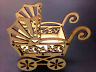 9.5x4.1cm Wood Baby Pram Cot Decor For Baby Shower Christening Bomboniere
