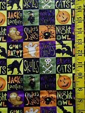HALLOWEEN GLITTER  SPOOKY BLOCKS PATCH  100% COTTON FABRIC BY THE 1/2 YARD