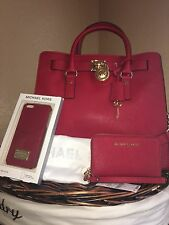 NWT 3pc Set Michael Kors Hamilton Large NS Tote W/ Wallet & Phone Case ~ Chili