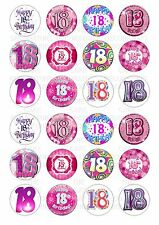 24 18th Birthday Female Wafer / Rice Paper Cupcake Topper Edible Fairy Cake Tops