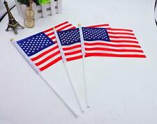 2Pcs Small Handheld American Flags USA Military Stick Ground Flags 14*21cm