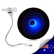 1 x Portable Novelty USB  Desk Fan With 2 LEDs Blue Light - NEW