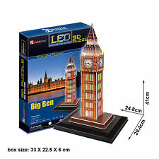 3D Jigsaw Puzzle Scale Model DIY Toy Decoration LED London Big Ben Clock Tower