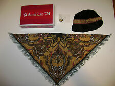 NEW AMERICAN GIRL DOLL Rebecca Accessories Black Hat Shawl Scarf Pin RETIRED