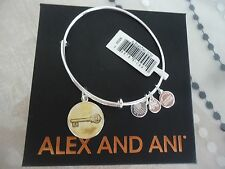 Alex and Ani SKELETON KEY ART INFUSION Bangle Shiny Silver New W/Tag Card & Box