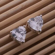 Ladies 925 Sterling Silver Fashion Sparkle Crystal Stud Heart Earrings Gift Bag