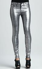 Nwt $238 J Brand 801 Super Skinny Mid Rise Coated Jeans Pants ~Silver *24