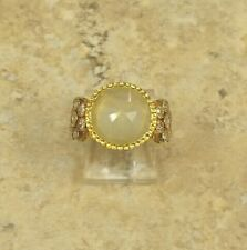 YOURS BY LOREN LIGHT GREEN SIMULATED STONE VERMEIL STACKABLE RING SIZE 7 HSN $77