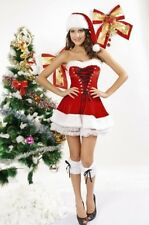 WOMENS RED CORSET VELVET XMAS CHRISTMAS SANTA SET COSTUME FANCY DRESS SIZE XXL