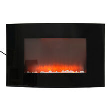 1.8Kw Wall Mounted Electric Fireplace Glass Heater Fire Remote LED Backlit