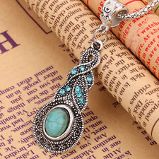 Hot Tibetan Silver Blue Turquoise Chain Crystal Pendant Necklace Fashion Jewelry