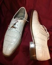 BELVEDERE SUSA Mans White 100% Genuine Crocodile Skin Shoes Sz 12