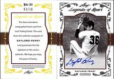 2011 LEAF LEGENDS OF SPORT GOLD GAYLORD PERRY SILVER AUTOGRAPH #BA31, AUTO #/10