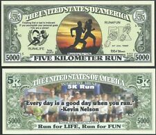 5K RUN, RUN FOR LIFE, RUN FOR FUN 5000 DOLLAR BILL - Lot of 2 BILLS