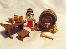 PLAYMOBIL Western, Pirate, Knight, Castle Beer Keg, 4 Mugs, Bar Maid for Saloon