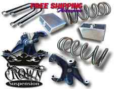"Crown Suspension 1982-2004 S10 4Cyl 3""-3"" Lowering Drop Spindles Coils Block Kit"