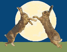 BN original cross stitch  chart of   moon gazing hares boxing
