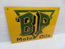 Plaque tole bombé emaillée BP Motor Oils deco garage plate enamel sign 40x30 cm