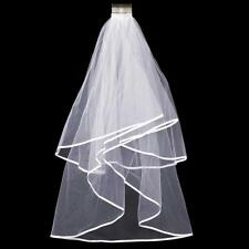 New Elegant 2T Double Wedding Bridal Elbow Satin Edge Veil Satin With Comb