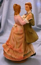 "Ceramic Dancing Couple 7 3/4"" Music Box Japan  VG Cond"
