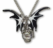 Mystical Black Dragon with Clear Crystal Ball Pendant Necklace NK-136B