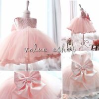 Baby Kids Princess Birthday Party Flower Girls Wedding Lace Bow Dress Graduation