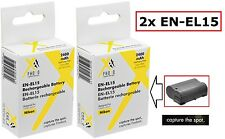 2 Pcs Hi Capacity EN-EL15 Li-Ion Battery for Nikon 1 V1 (Qty 2)
