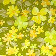 1970s SUNSHINE GREEN FLORAL Vintage Original Wallpaper Greens + Happy days Vinyl