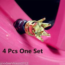 4 Pcs Yellow Gold Crown Shape Auto Wheel Valve Stem Air Valve Caps For Chevrolet