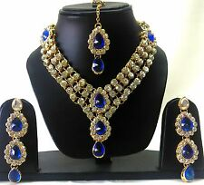Indian Tradition Kundan Blue color Set Necklace and Earrings Gold Plated