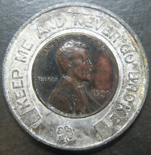 """Keep Me and Never Go Broke"" 1959 Lincoln Penny Token! Rines Bros. Portland, ME!"