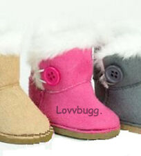 "Hot Pink Fur Button Shearling Ewe Uggly Boots for 18"" American Girl Doll Found!"