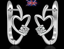 925 Sterling Silver Heart Hoop Earrings Crystal Ladies Girls Gift Bag UK